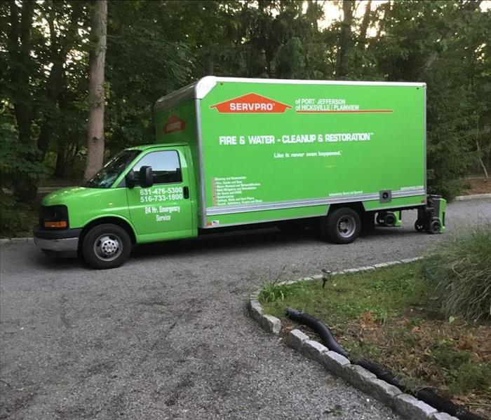 SERVPRO green box truck at work