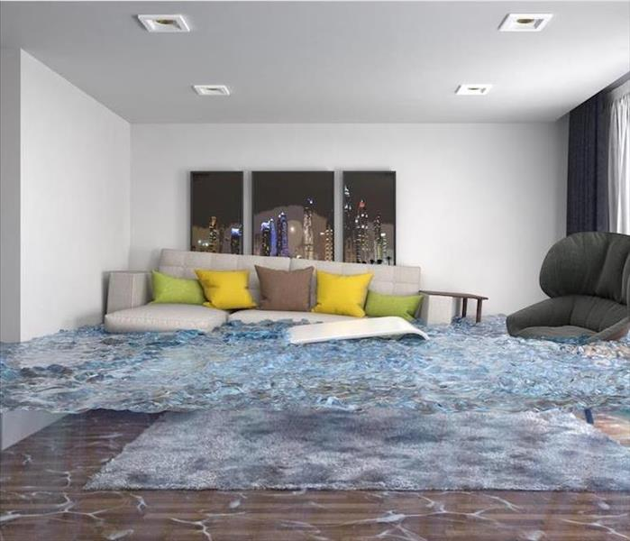 flooded living room with couch and large chair