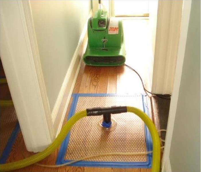 Our green machine drying the hardwood in this hallway