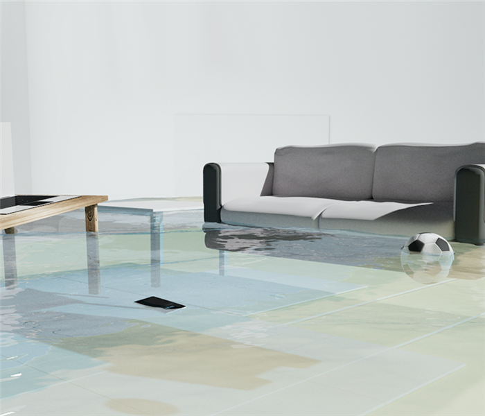 Flooded living room with couch floating.