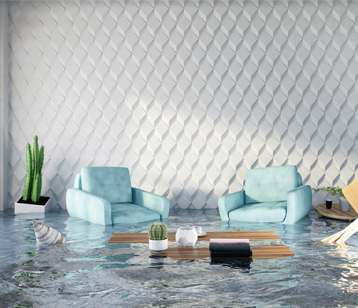 flooded living room with geometric prism wallpaper and light blue arm chairs floating